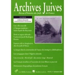 ARCHIVES JUIVES 37/1 L'ESPACE DES JUIFS REPRESENTATIONS ET GEOGRAPHIE