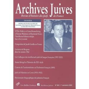 ARCHIVES JUIVES 38/1 LES INTELLECTUELS JUIFS 2E PART.