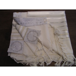 TALITH GADOL BLANC AVEC DORURES (TAILLE 55)