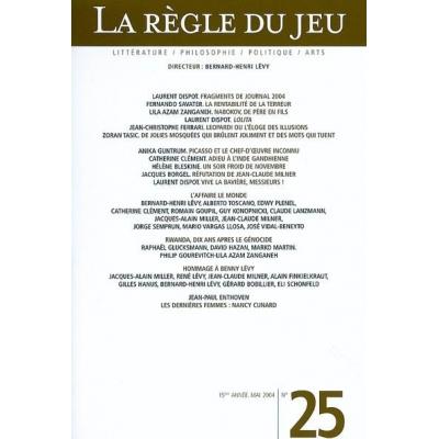 LA REGLE DU JEU No25 - HOMMAGE A BENNY LEVY