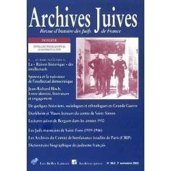 ARCHIVES JUIVES 36/2 INTELLECTUELS JUIFS : LE SAVOIR ET LA CITE