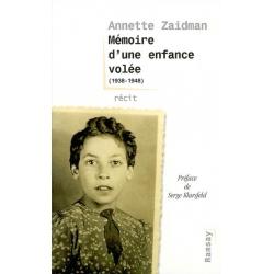 MEMOIRE D'UNE ENFANCE VOLEE 1938 1948