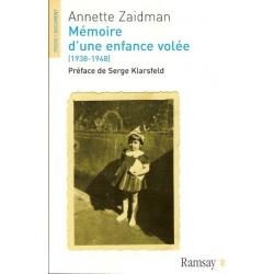 MEMOIRE D'UNE ENFANCE VOLEE (1938-1948)