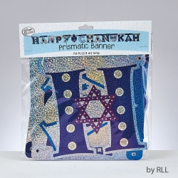 "BANNIERE ""HAPPY CHANUKAH"" BLEU/ARGENT"